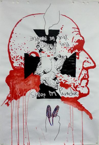 Benoit Piret      Portrait de Johan Muyle   (100 x 70 cm) Techniques mixtes sur papier flipchart   2016