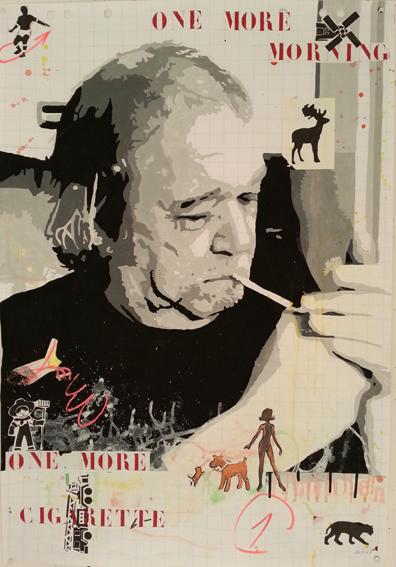 Benoit Piret             Portret van Raymond Minnen     2016 Gemengde technieken op flichardpapier         (100 x 70 cm)